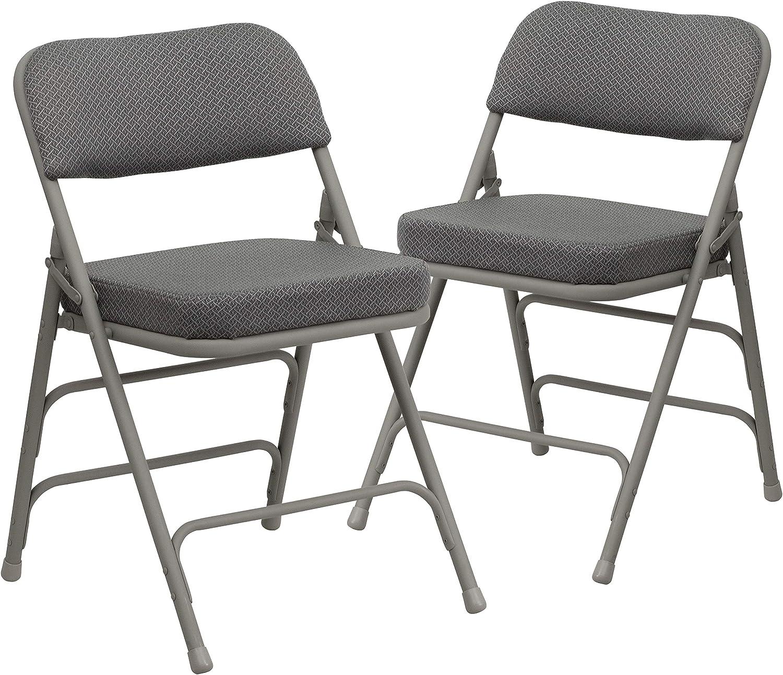 Flash Furniture 2 Pk. HERCULES Series Premium Curved Triple Braced & Double Hinged Gray Fabric Metal Folding Chair: Furniture & Decor