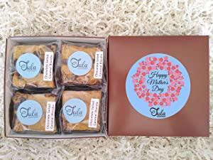 Tula Bakeshoppe Mother Day Chocolate Salted Caramel Cookie Bars Food Gift Basket, Dessert Pastry for Cat Mom / Female / Grandma / Ma, Blondies Care Package, Wrapped Individually (4 Bars)