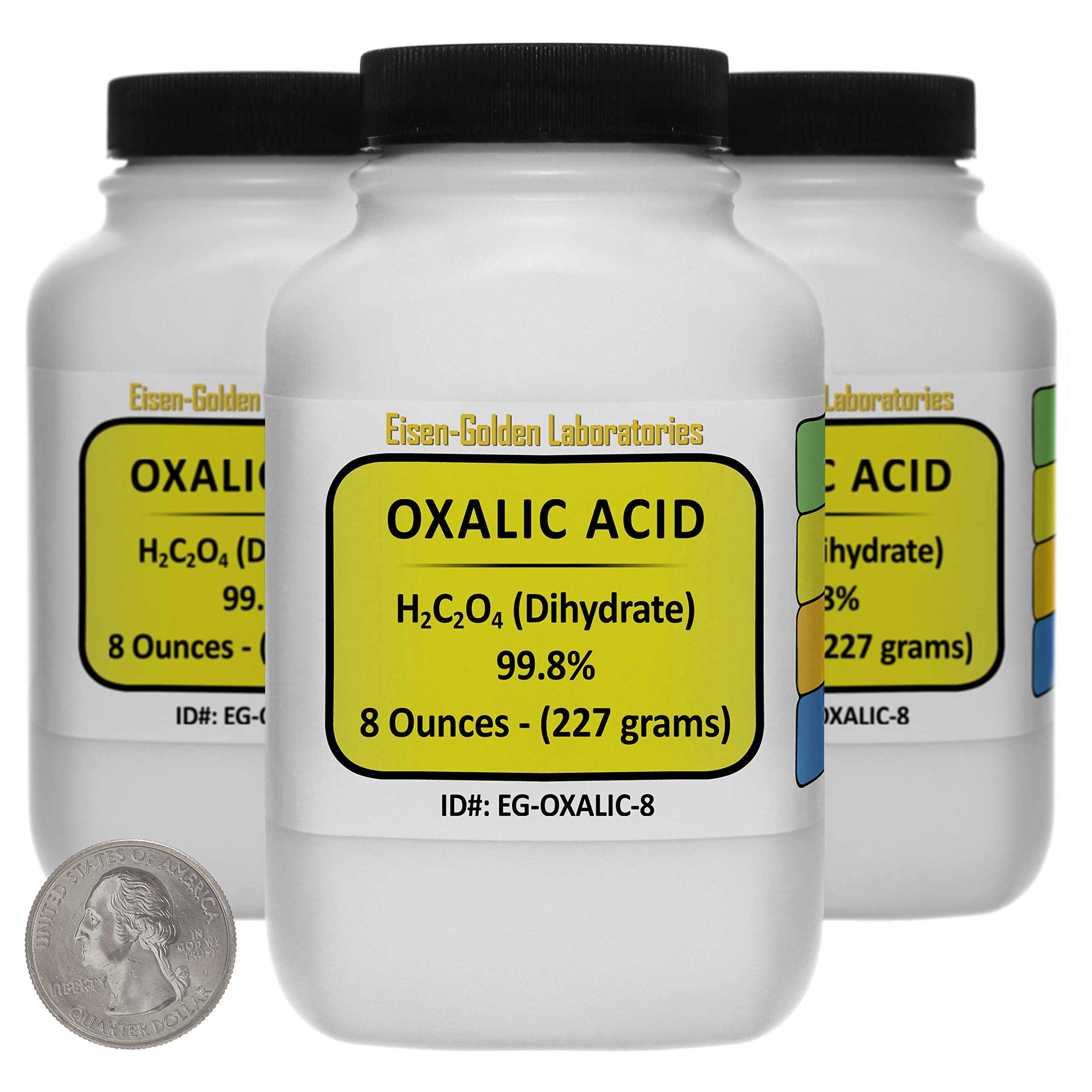 Oxalic Acid [C2H2O4] 99.8% ACS Grade Powder 1.5 Lb in Three Space-Saver Bottles USA by Eisen-Golden Laboratories