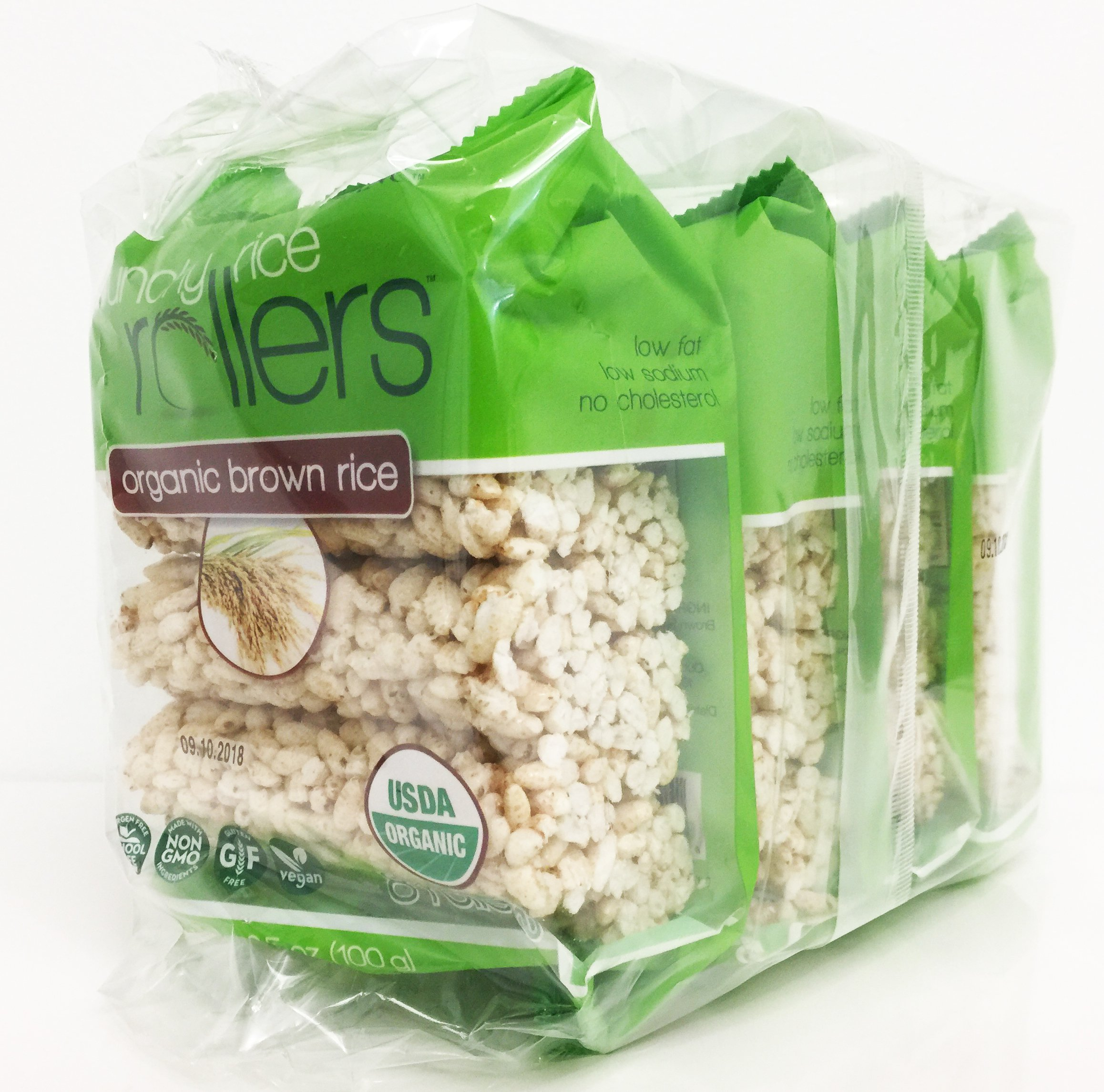 Bamboo Lane Crunchy Rice Rollers - Organic Brown Rice, 3.5oz (4 Packs of 8 Rollers)
