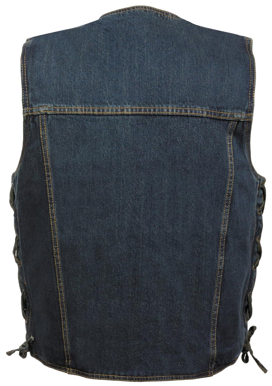 Blue, XXX-Large Milwaukee Performance DM1360-BLU-3X MILWAUKEE PERFORMANCE Mens Denim Style Vest with 2 Front Zippered Pockets
