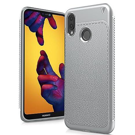 Huawei P20 Lite Funda, Carcasa Caso Cubierta de Protección de Litchi Textura TPU Silicona para Huawei P20 Lite 5.84