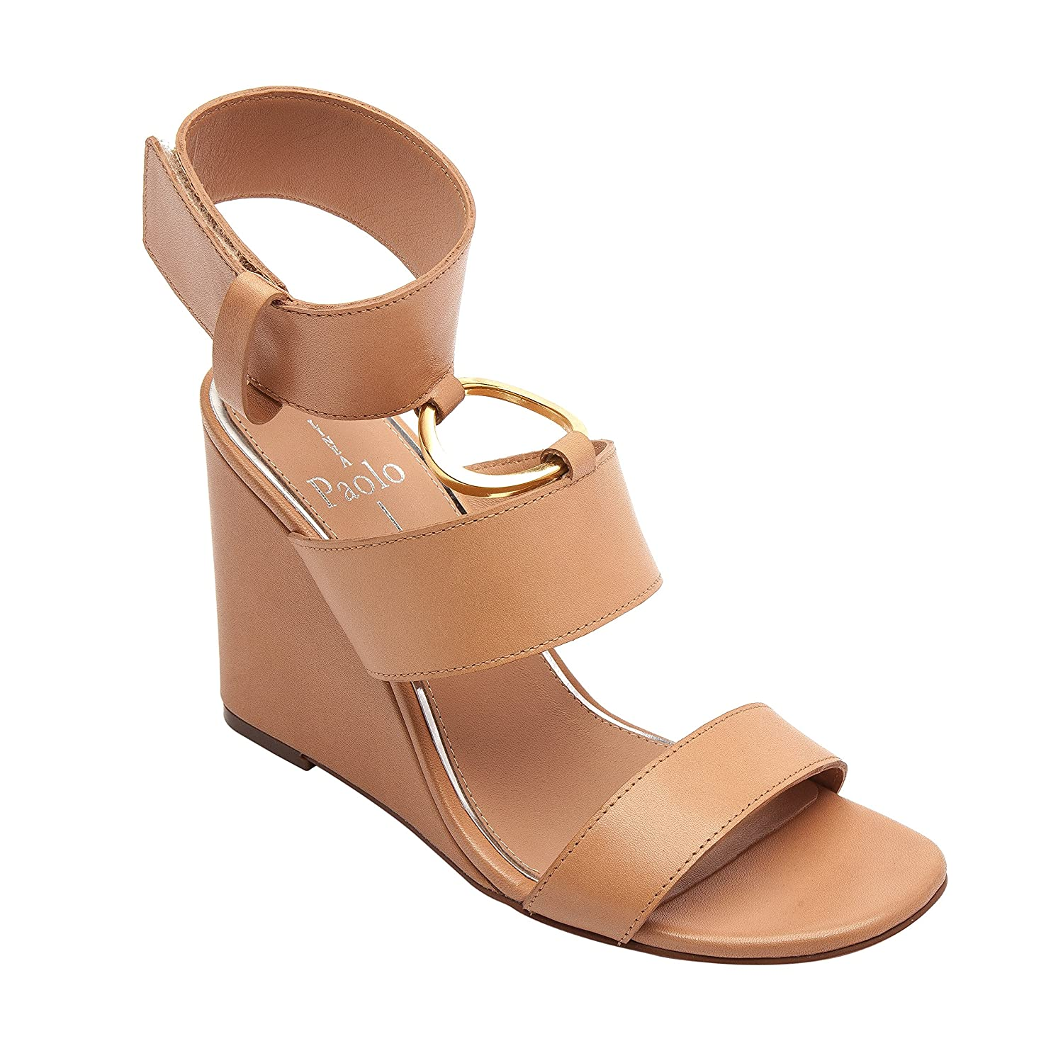 Linea Paolo EVA | Women's Metal Ring Adorned Cuffed Comfortable Wedge Sandal B079584X6V 7.5 M US|Pink Leather