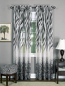 Achim Home Furnishings Kenya Window Curtain Panel, Black/White, 50 x 84-Inch