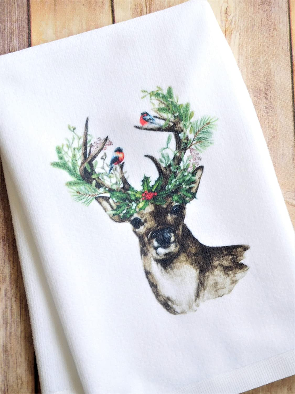 Kitchen Dish Towel Christmas Deer with Birds Bathroom Hand Towel