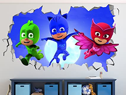 PJ Masks Jumping Out Smashed 3D Wall Decal Sticker Vinyl Decor Door Window Poster Mural Movie