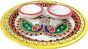 Purpledip Marble Puja Thali Set: Home Temple Decorative Platter (11893)