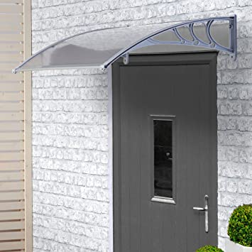 VonHaus Polycarbonate Door Canopy - Single Corrugated Panel Shelter for Patio u0026 Porch Cover Window & VonHaus Polycarbonate Door Canopy - Single Corrugated Panel ...