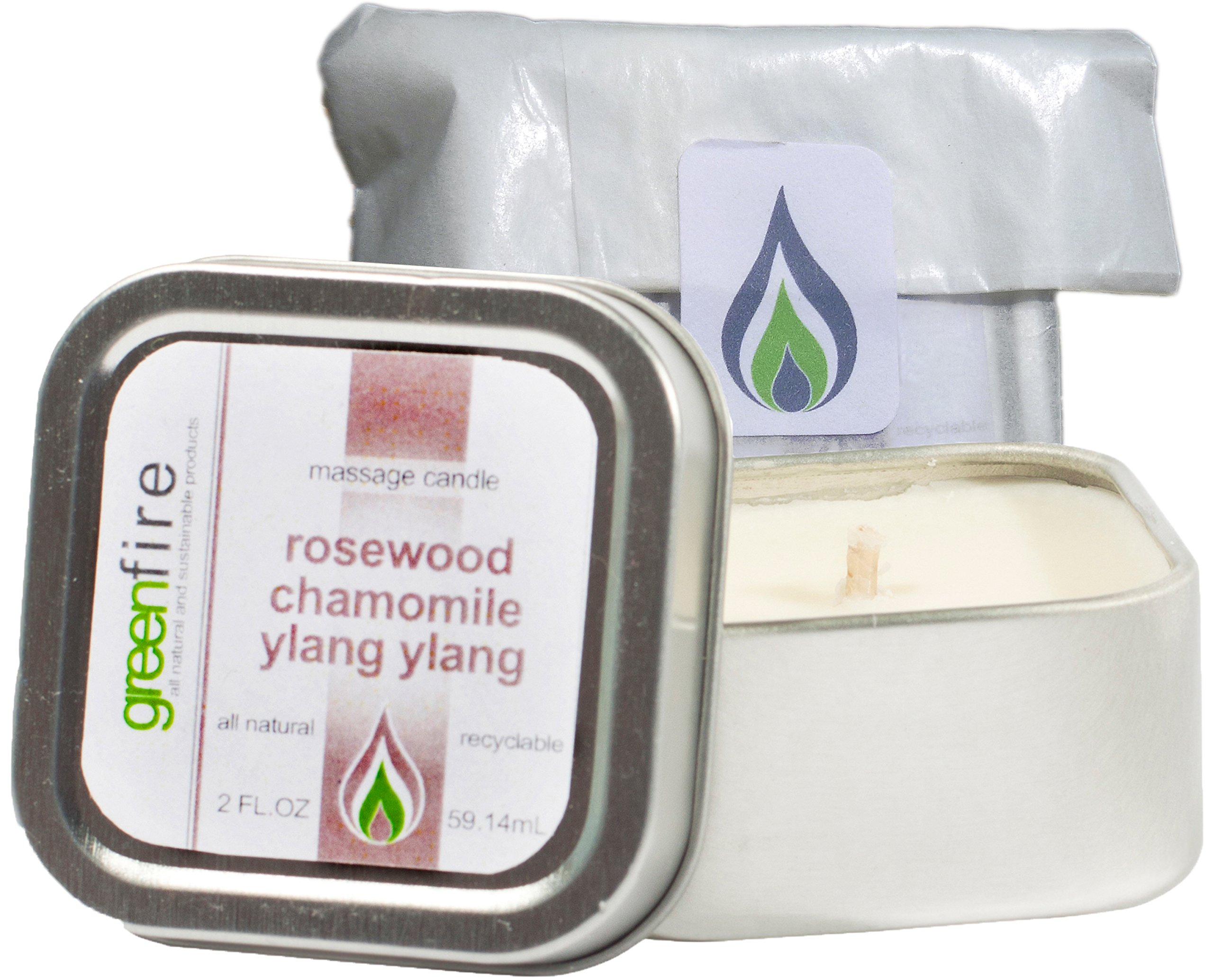 Greenfire All Natural Massage Oil Candle, Rosewood Chamomile Ylang Ylang, Travel Size 2 Fluid Ounce by Greenfire Massage Candles (Image #1)