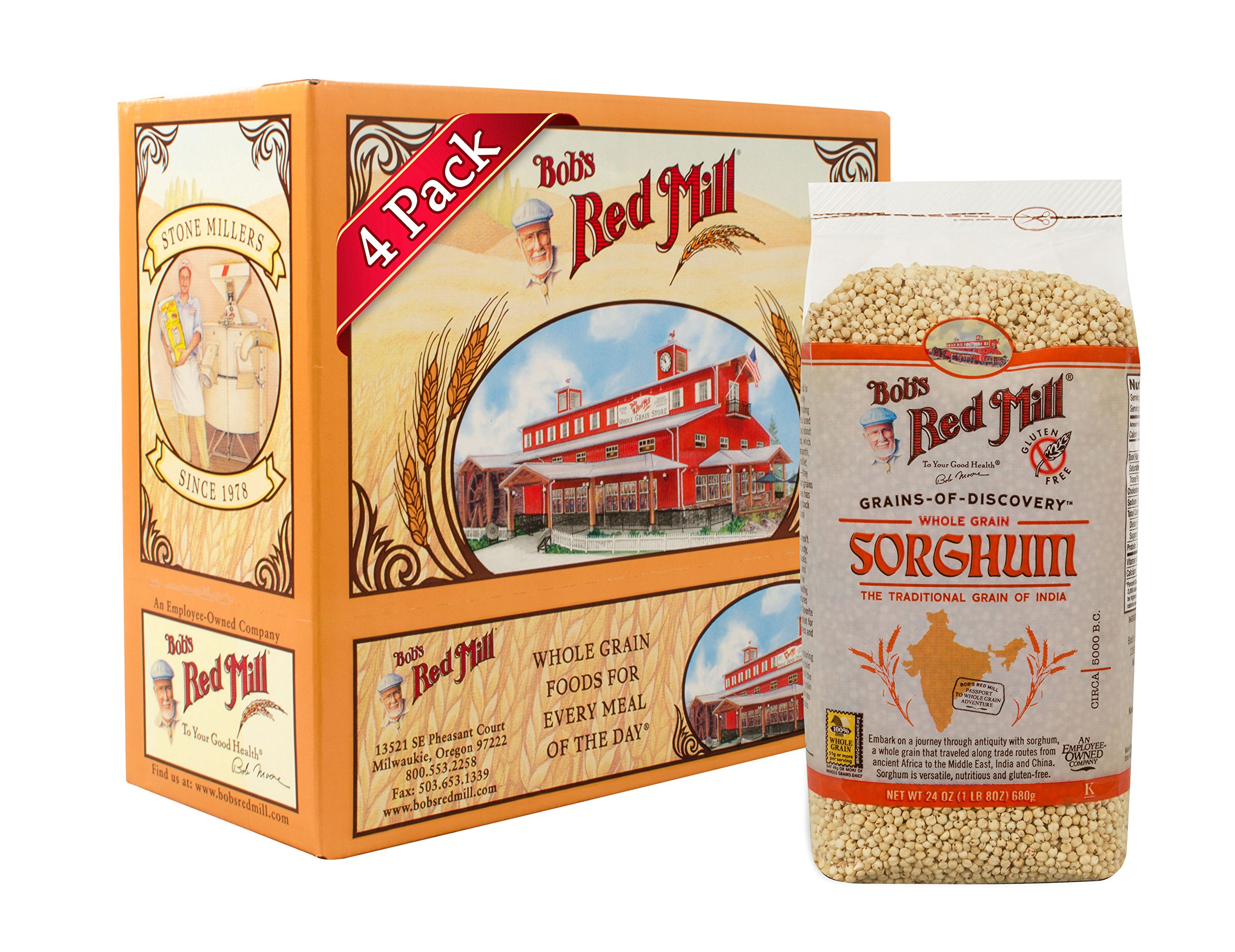 Bob's Red Mill Gluten Free Sweet White Sorghum Grain, 24-ounce (Pack of 4) by Bob's Red Mill