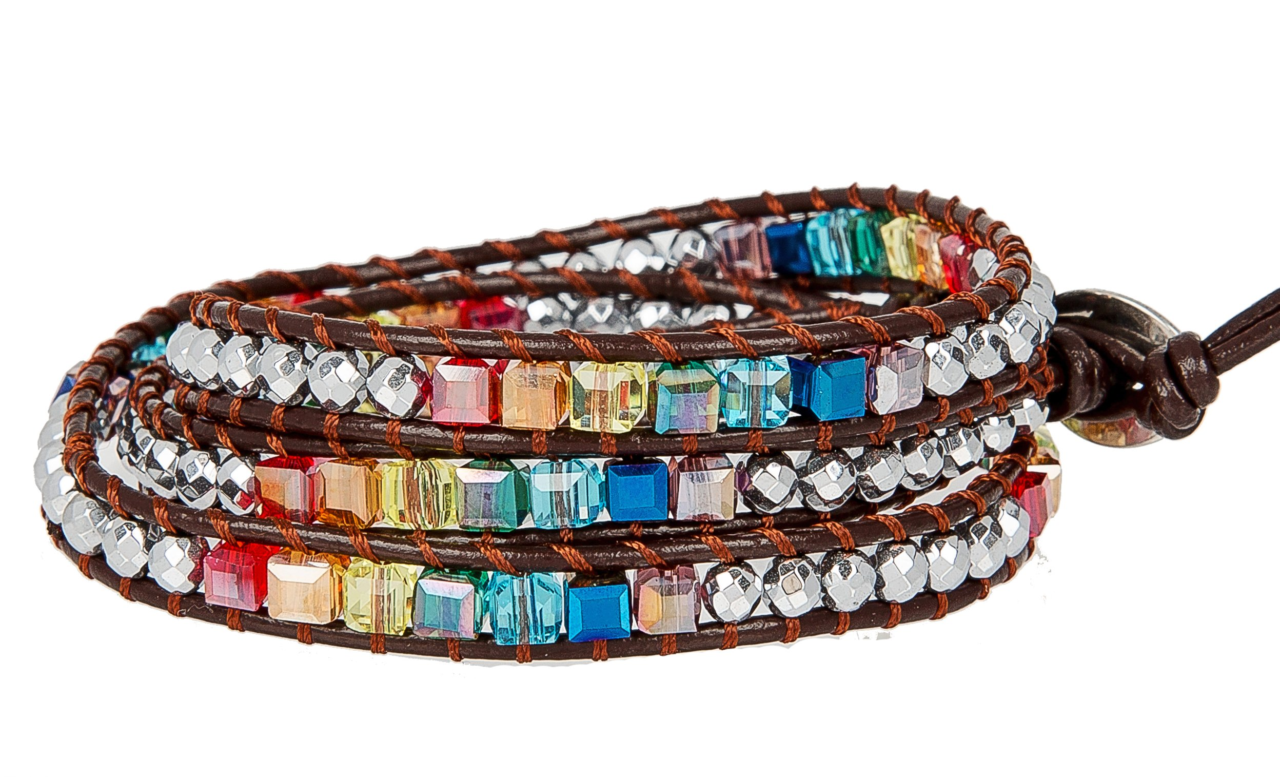 SPUNKYsoul New! Chakra Awareness Leather Wrap and Crystal Bracelet for Women Collection (Brown) by SPUNKYsoul