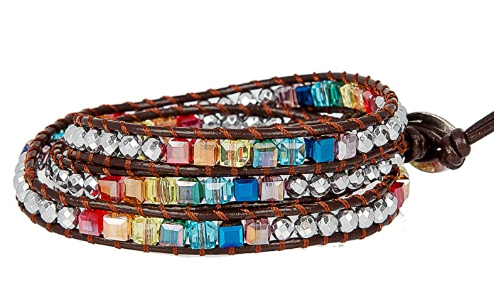 SPUNKYsoul New! Chakra Awareness Leather Wrap and Crystal Bracelet for Women Collection (Brown)