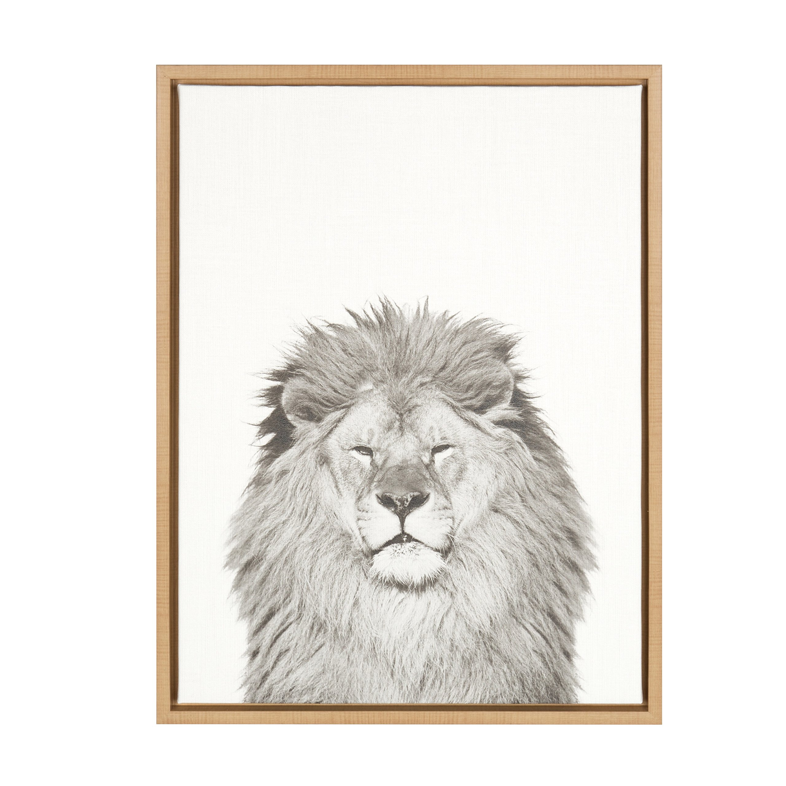 Kate and Laurel - Sylvie Lion Animal Print Black and White Portrait Framed Canvas Wall Art by Simon Te Tai, Natural 18x24