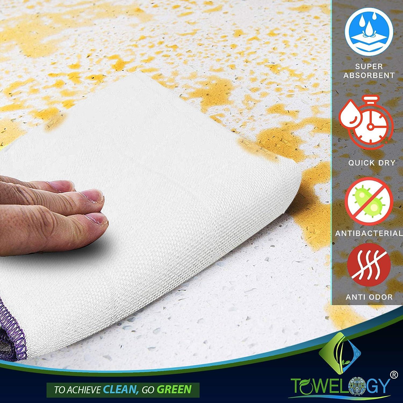 4 pz 30 x 30 cm antibatterici Colore: Bianco Grandi Assorted Plain Set di Asciugamani ecologici in bamb/ù a Nido dApe Senza Pelucchi bamb/ù Towelogy/®