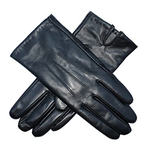 8cfa41d96 Jasmine Silk Ladies Luxury Black Plain Leather Cashmere Lined Gloves (Small  (6.5-7