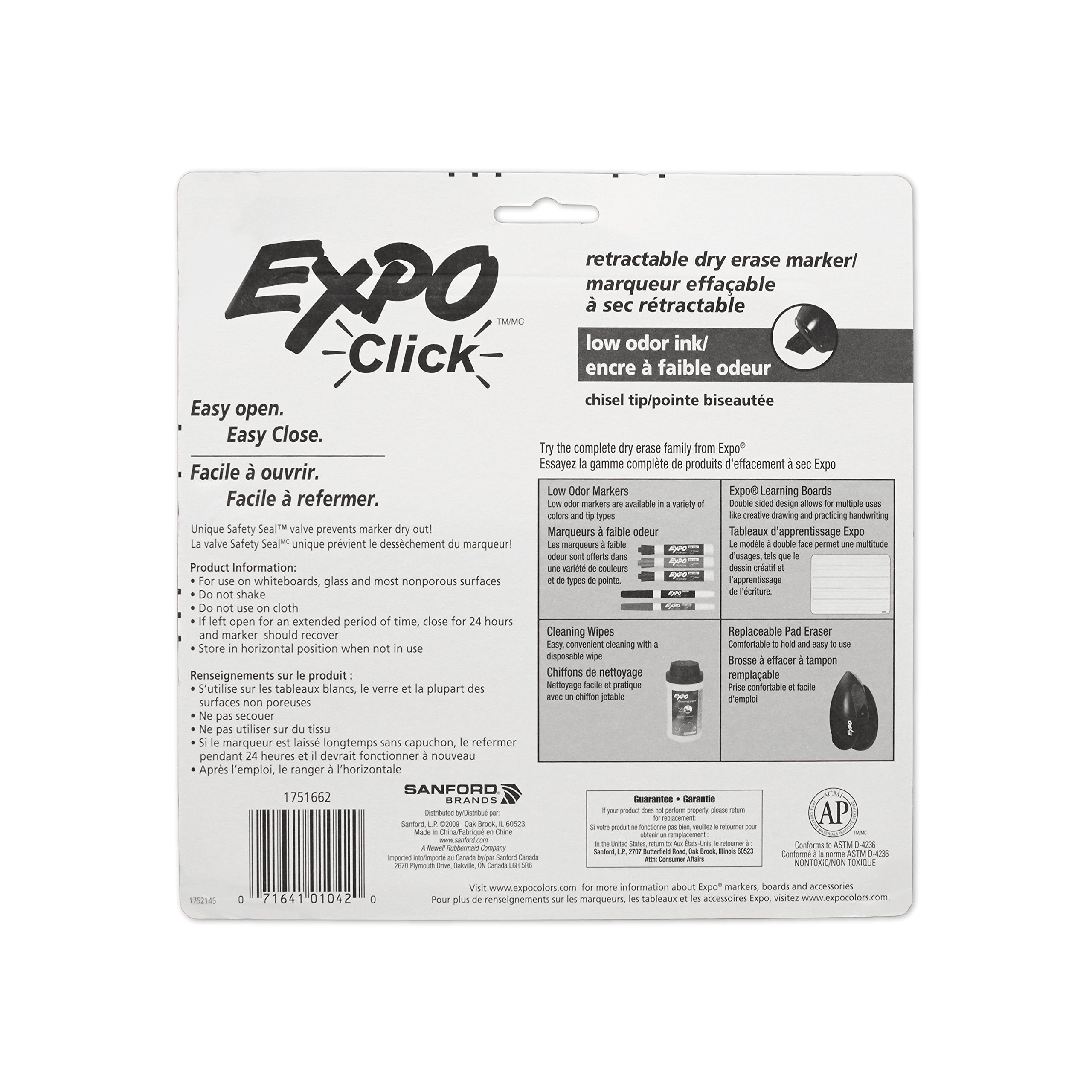 EXPO Low-Odor Dry Erase Click Retractable Marker Set, Chisel Tip, Assorted Colors, 4-Piece by Expo (Image #5)