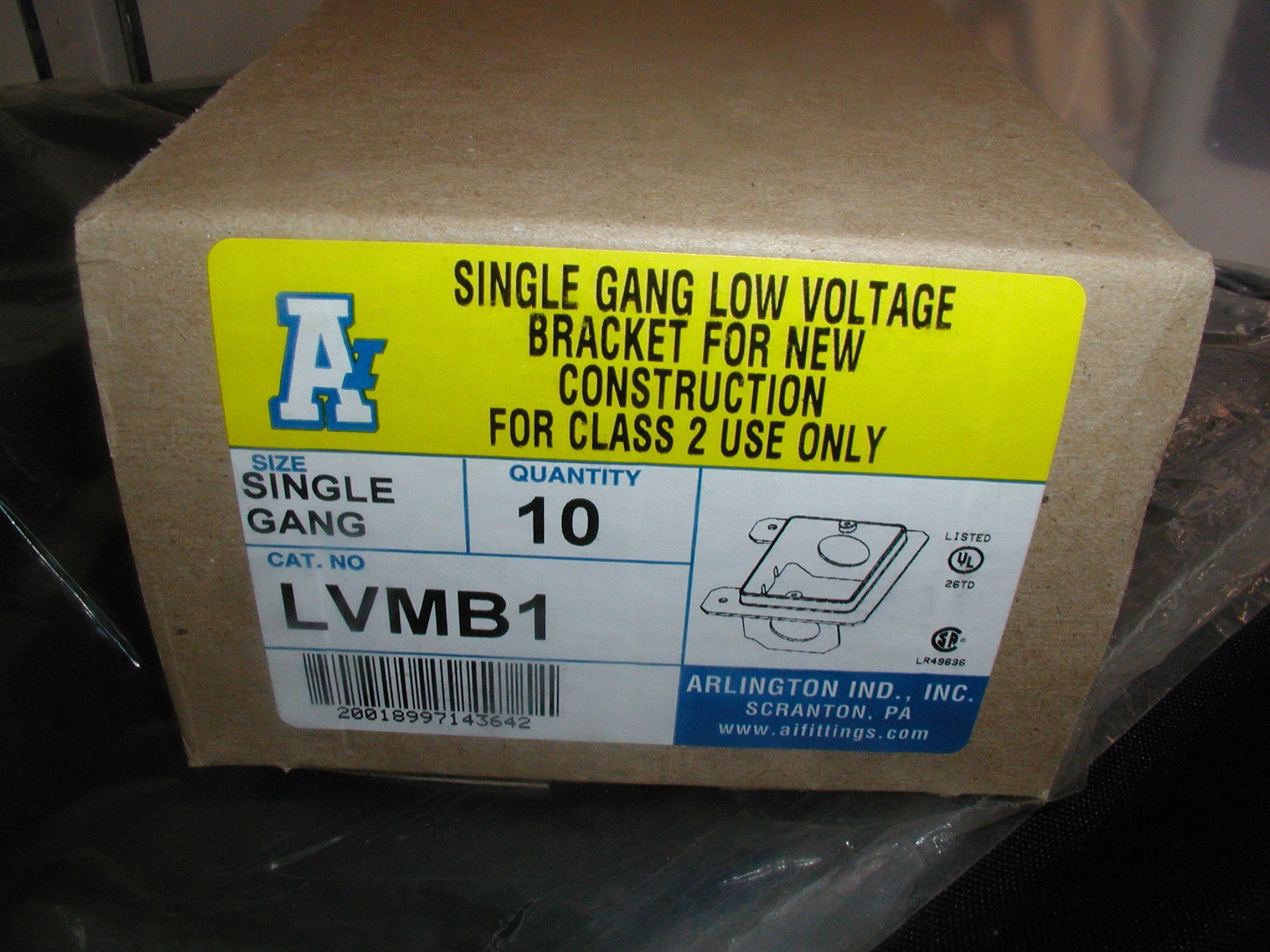 ARLINGTON LVMB1 LOW VOLTAGE BRACKET. SINGLE GANG. NEW WORK. SALE IS FOR A BOX OF TEN (10).