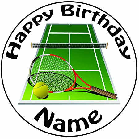 Personalised Tennis Court And Racket Cake Topper A Pre Cut Round 8