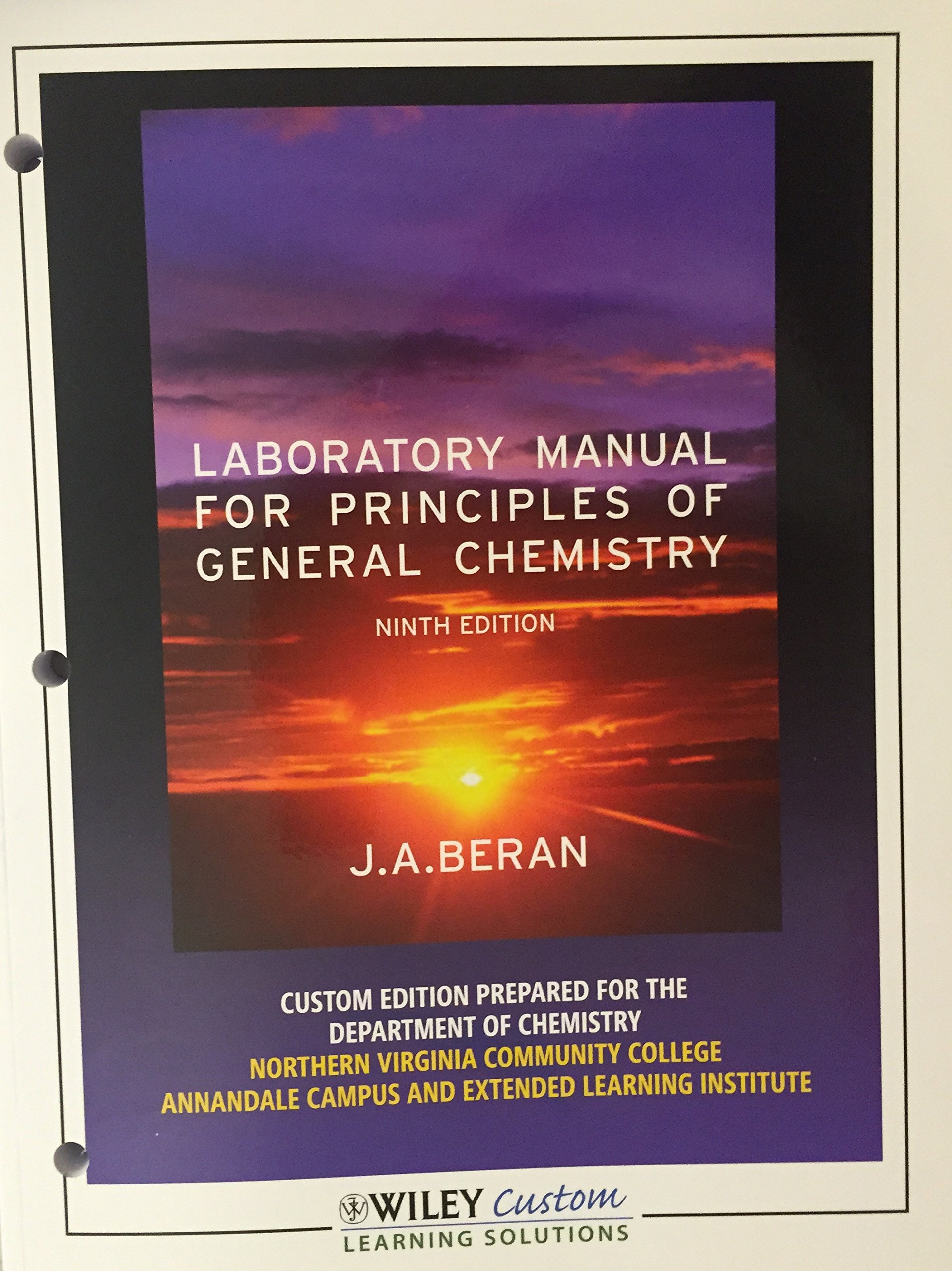Laboratory Manual for Principles of General Chemistry 9th Edition Stevens  Institute of Technology: J.A. Beran: 9781118168028: Amazon.com: Books