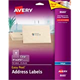 """Avery Matte Frosted Clear Address Labels for Inkjet Printers, 1"""" x 2-5/8"""", 750 Labels (8660)"""