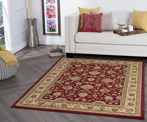 Tayse Raleigh Red 9×13 Rectangle Area Rug for Living, Bedroom, or Dining Room – Traditional, Floral