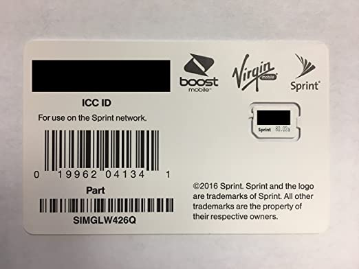 Sprint Boost Virgin Mobile Nano SIM Card ICCID SIMGLW426Q IPhone 8