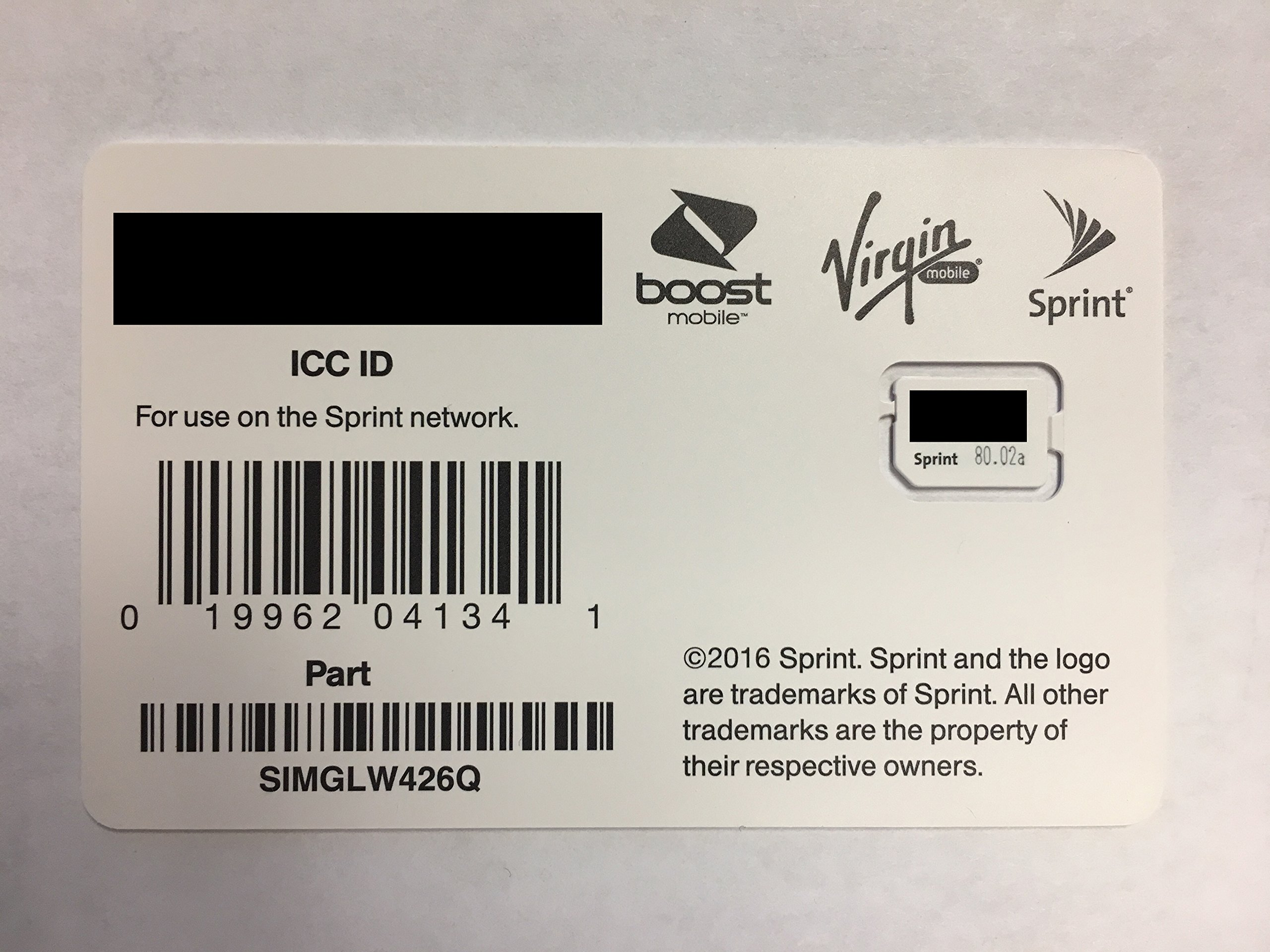 Sprint Boost Virgin Mobile Nano SIM Card ICCID SIMGLW426Q iPhone 8, 8+, iPhone X
