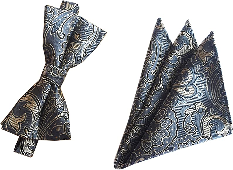 814d698aae90 Amazon.com: Big Boys Bow Ties Set Dark Grey Business Silk Bowties Holiday  Best Gifts for Men: Clothing