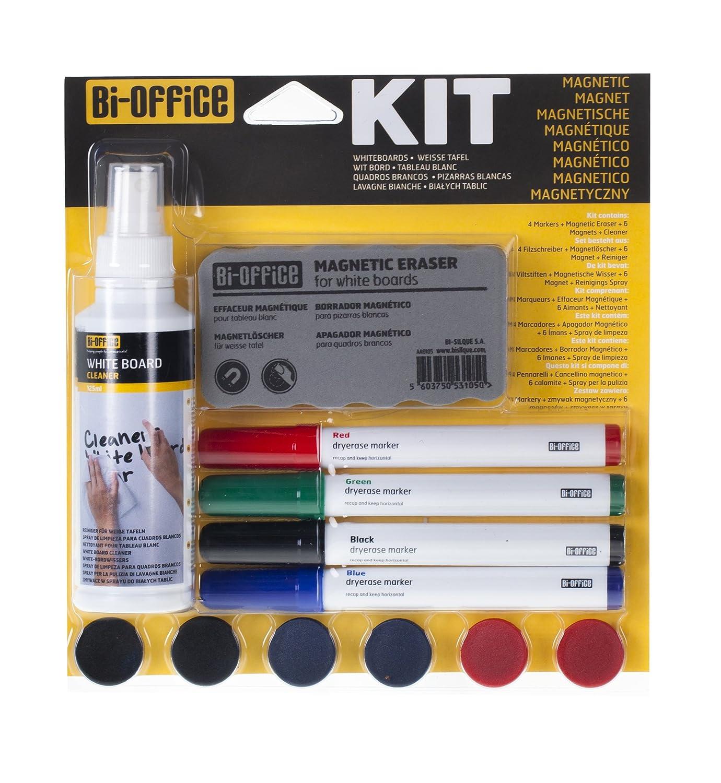 Bi-Office Kit di Pulizia per Lavagne Bianche con 4 Pennarelli, Detergente Spray, 6 magnetini e Cancellino KT1010