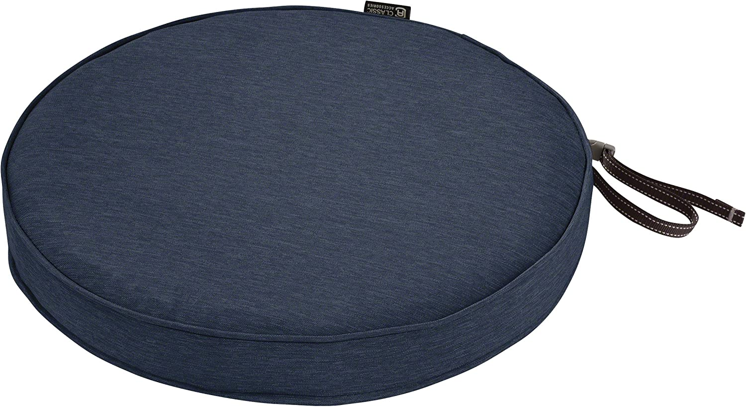 Heather Indigo Blue Classic Accessories Montlake Water-Resistant 15 Dia x 2 Inch Patio Dining Seat Cushion