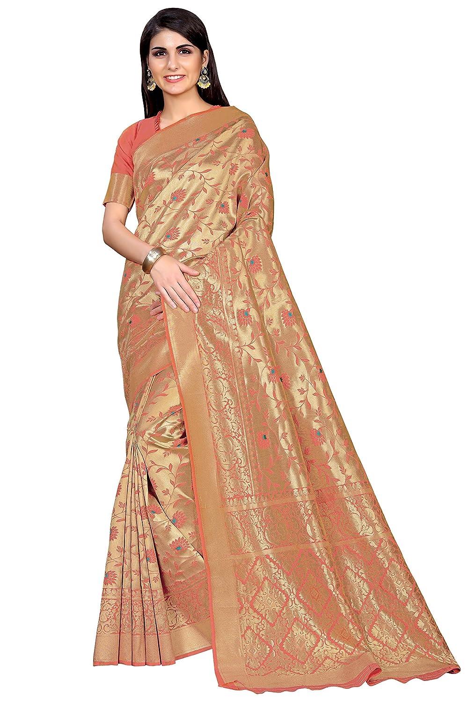Women's Kanchipuram Art Silk Saree With Blouse Piece Collection