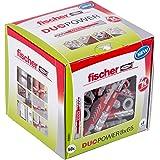 fischer DUOPOWER 8 x 65 - Universaldübel für eine Vielzahl von Baustoffen - Allzweckdübel für leichte Wandregale, Gardinenschienen uvm. - 50 Stück - Art.-Nr. 538251