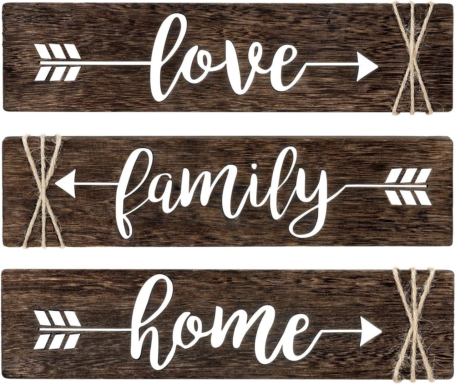 """Dahey Rustic Wood Arrow Sign Wall Decor Home Famlily Love Sign 13""""x 3"""" Farmhouse Wall Mount Decoration for Home Office Wedding Kitchen and Living Room, Set of 3"""