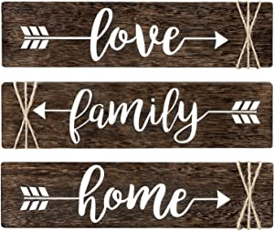 "Dahey Rustic Wood Arrow Sign Wall Decor Home Famlily Love Sign 13""x 3"" Farmhouse Wall Mount Decoration for Home Office Wedding Kitchen and Living Room, Set of 3"