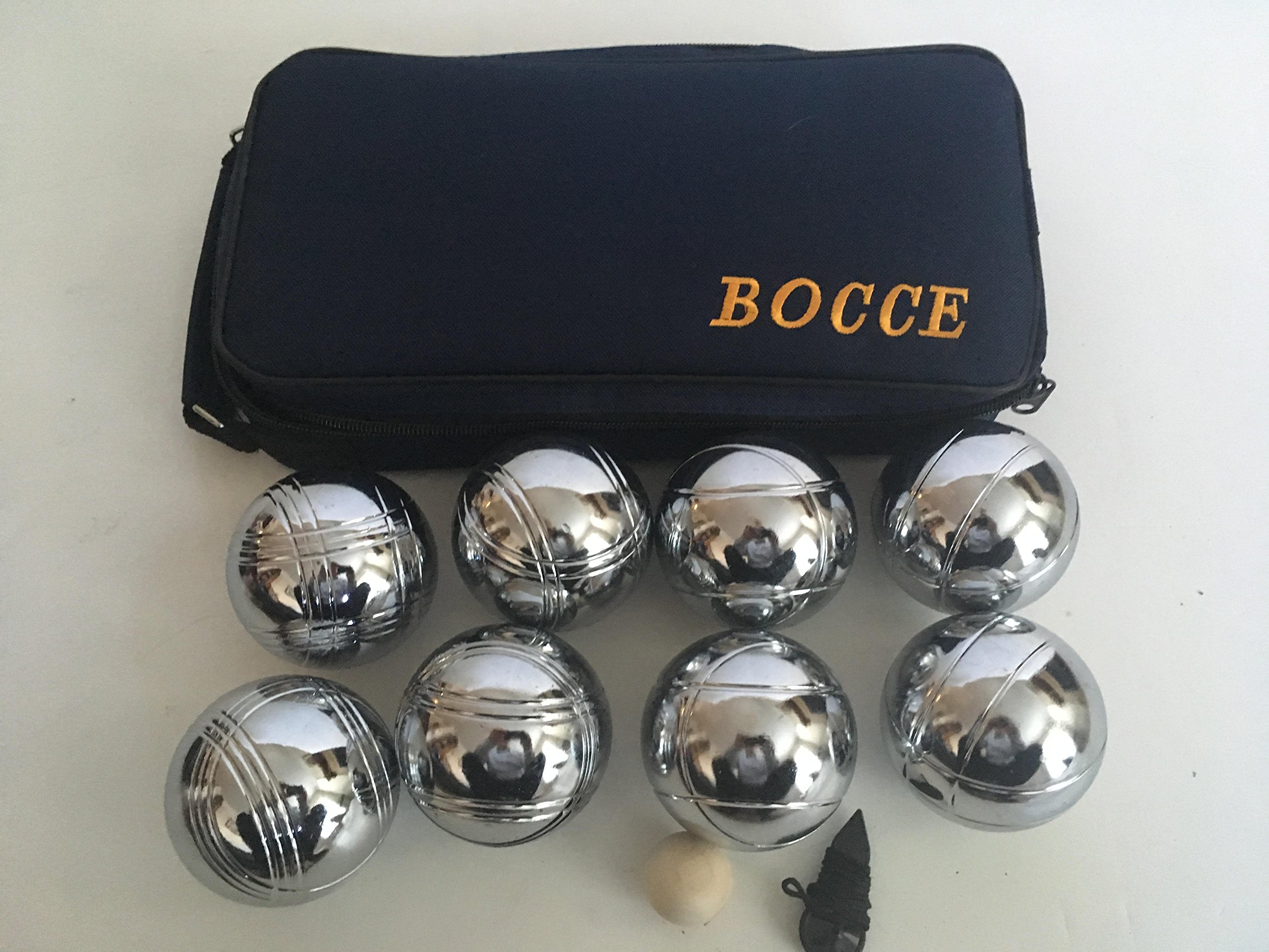 73mm Metal Bocce/Petanque Set with 8 Silver balls and blue bag - single