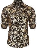 Men's Dragon Tattoo Design Slim Fit Dress Casual Shirts