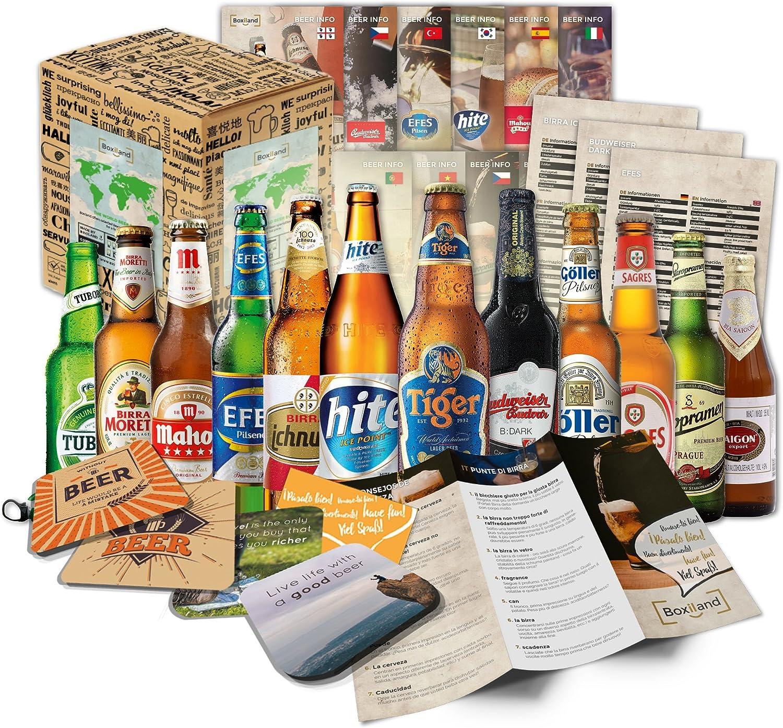 Cervezas del mundo (12 botellas) especialidades internacionales de cerveza para regalar - Las mejores cervezas del mundo con caja de regalo (cerveza + instrucciones de degustación + folleto de cerveza