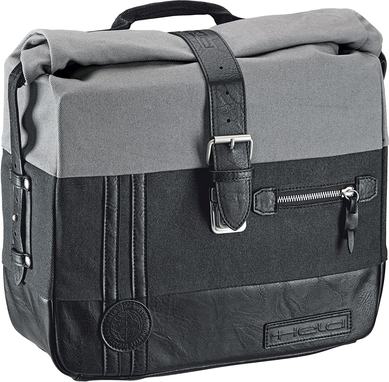HELD Satteltasche CANVAS Motorrad schwarz-grau 2er Set 2x12 Liter Seitentaschen