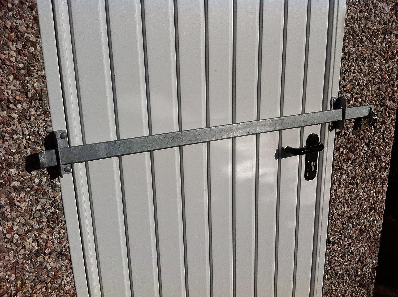 Barrera de bloqueo para cobertizo de jardín, de fábrica, puerta de oficina, seguridad - acero resistente - acabado galvanizado (1200 mm): Amazon.es: Jardín