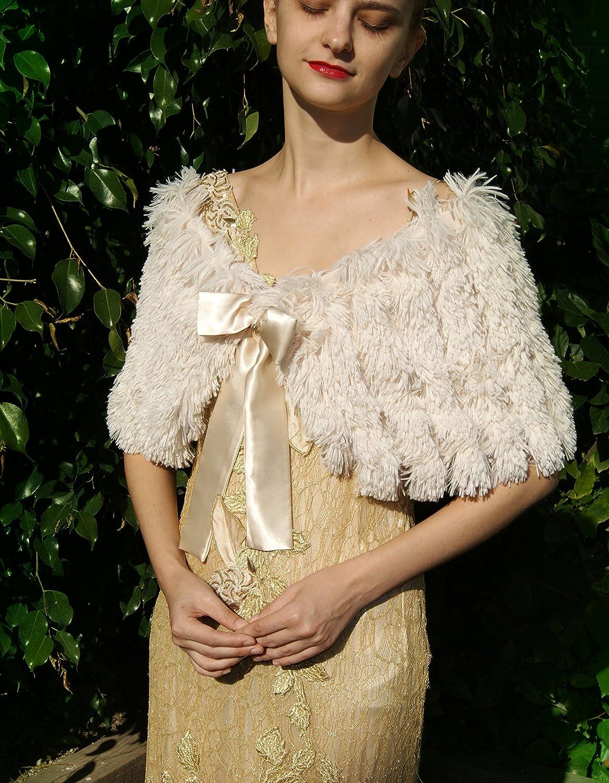 Chal estola piel sintetica marfil beige champagner alta calidad: Amazon.es: Handmade
