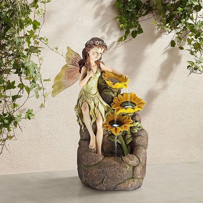 "John Timberland Garden Fairy with Sunflowers 26"" High Floor Fountain"