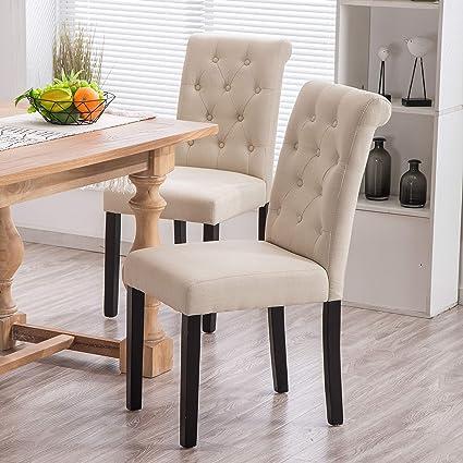Amazon.com - YEEFY Fabric Habit Solid Wood Tufted Parsons Dining ...