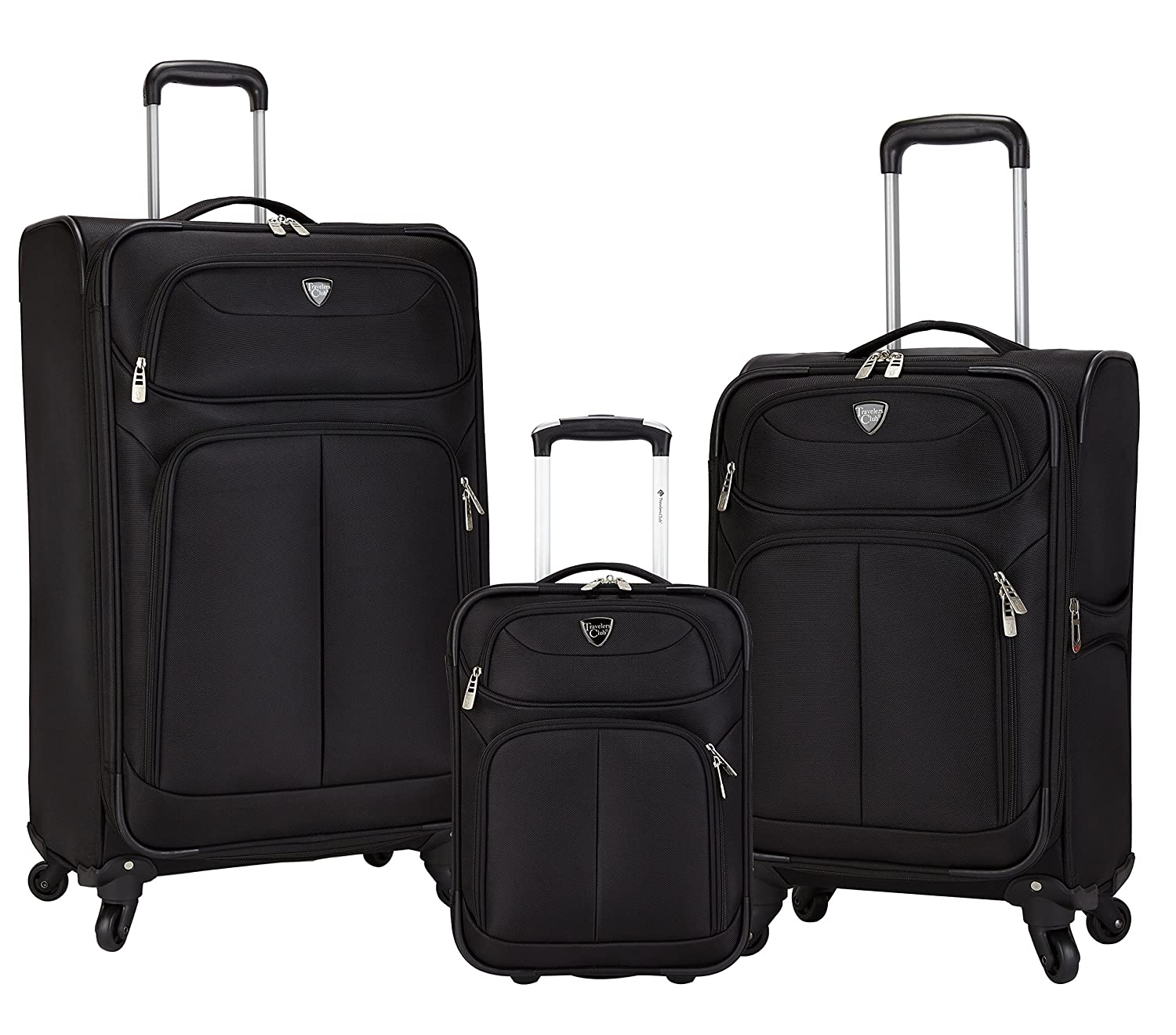 Travelers Club 3 PieceHartford Collection Constructed with Top Durable Fabric Features 28 Spinner Luggage, 20 Spinner Carry-On, and 17 Underseater, Black Color Option 20 Spinner Carry-On and 17 Underseater Travelers Club Luggage TCL-88403-001