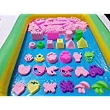 """""""BUNDLE"""" 3.3 lbs PINK Kinetic / Space / Moon / Crazy Magic Play Sand Mold N Play DIY With 14 Mold, 5 Tool & Inflatable Tray & Storage Box"""
