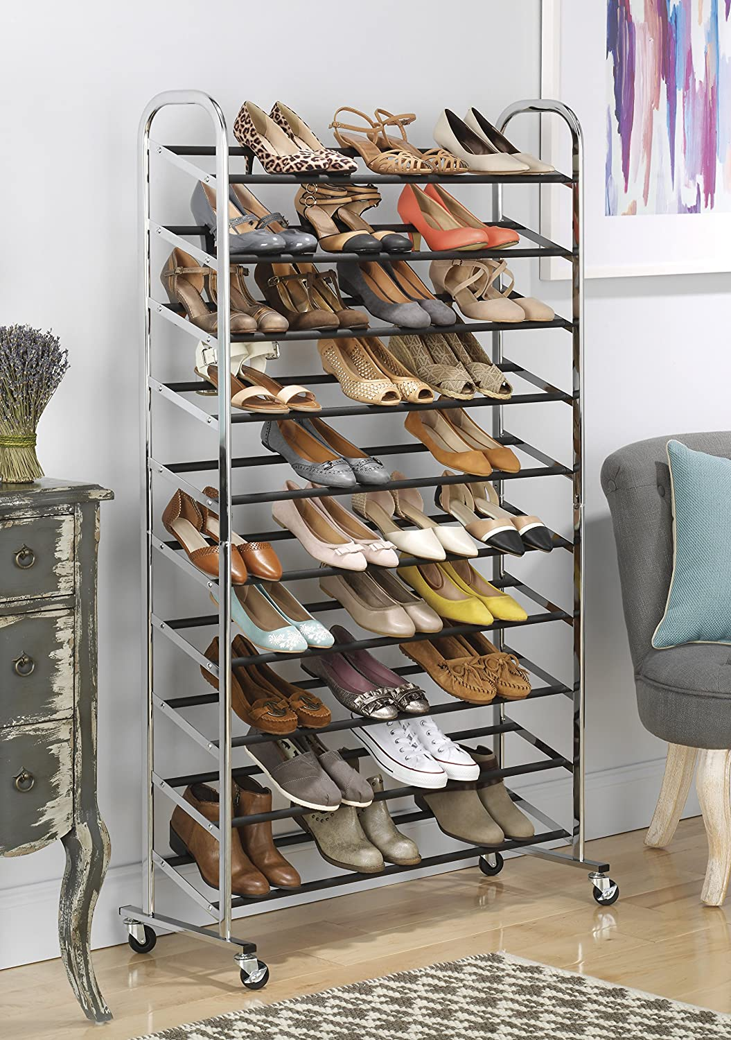 Nice Amazon.com: Whitmor 10 Tier Shoe Tower   50 Pair   Rolling Shoe Rack With  Locking Wheels   Chrome: Home U0026 Kitchen