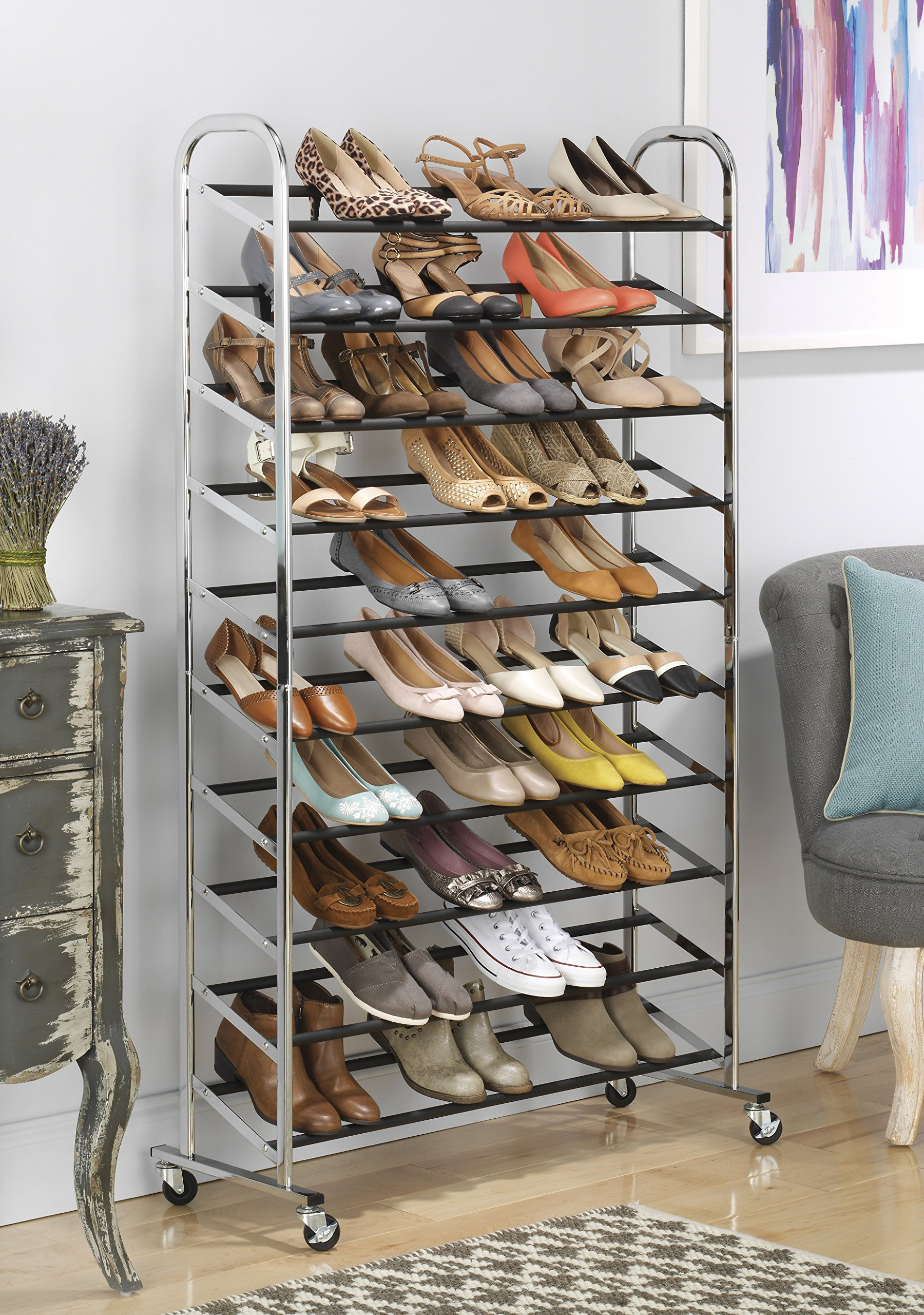 Whitmor 10 Tier Shoe Tower - 50 Pair - Rolling Shoe Rack with Locking Wheels - Chrome by Whitmor (Image #2)