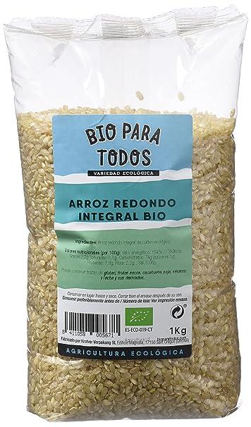 Bio para todos Arroz Redondo Integral - 4 Paquetes de 1000 gr - Total: 4000 gr: Amazon.es: Alimentación y bebidas
