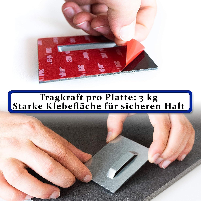Dibond en aluminium et verre acrylique Kit de fixation complet pour le montage de photos et de miroirs Charge maximale des plaques adh/ésives Lot de 2 supports autocollants pour tableau 18 kg