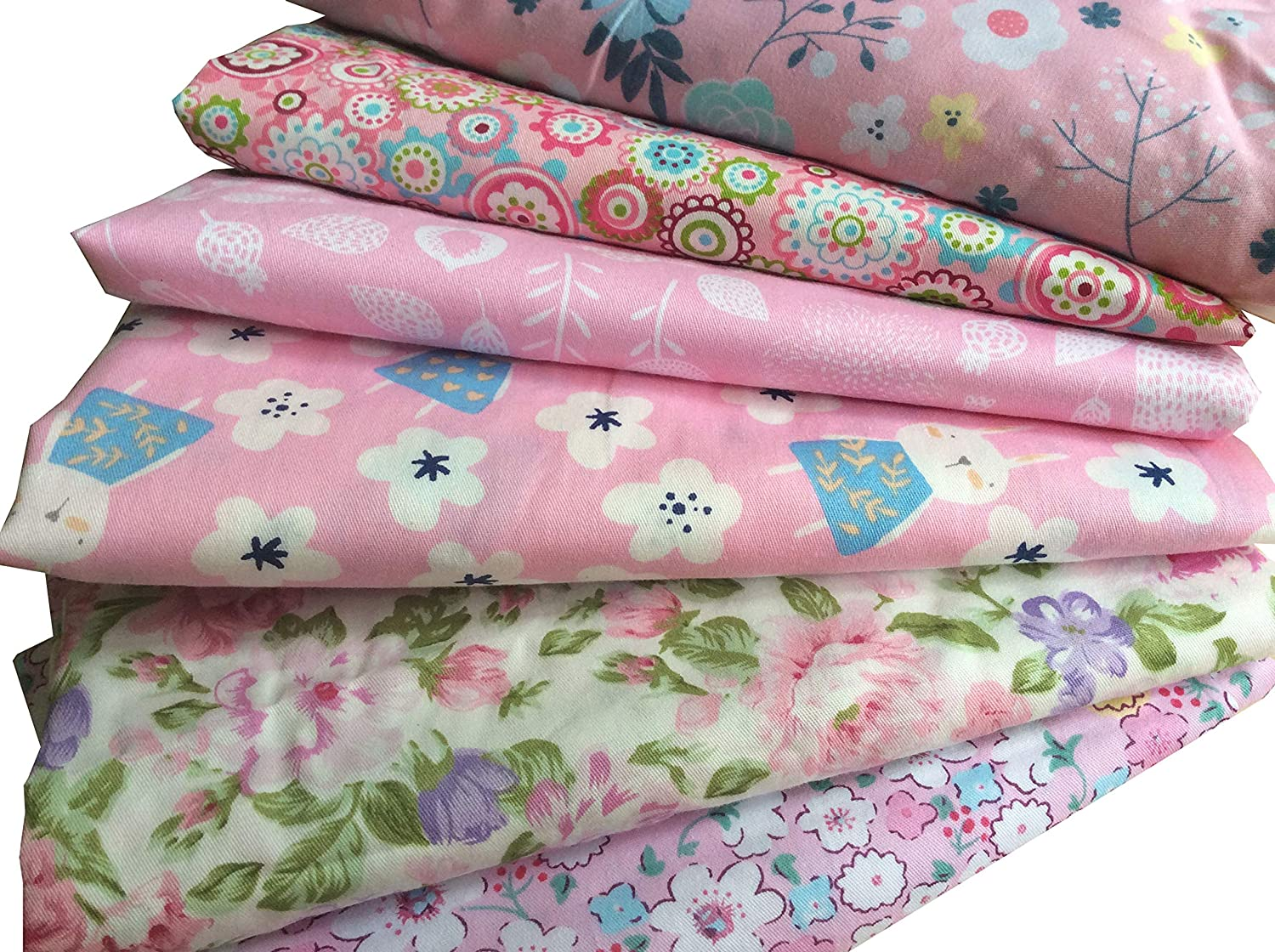 Cotton Fabric Pre-Cut Quilt Squares Fat Quarters Fabric Bundles for Sewing and Quilting Mililanyo 8pcs 18 x 22inches Blue Flowers and Dots 46x56cm