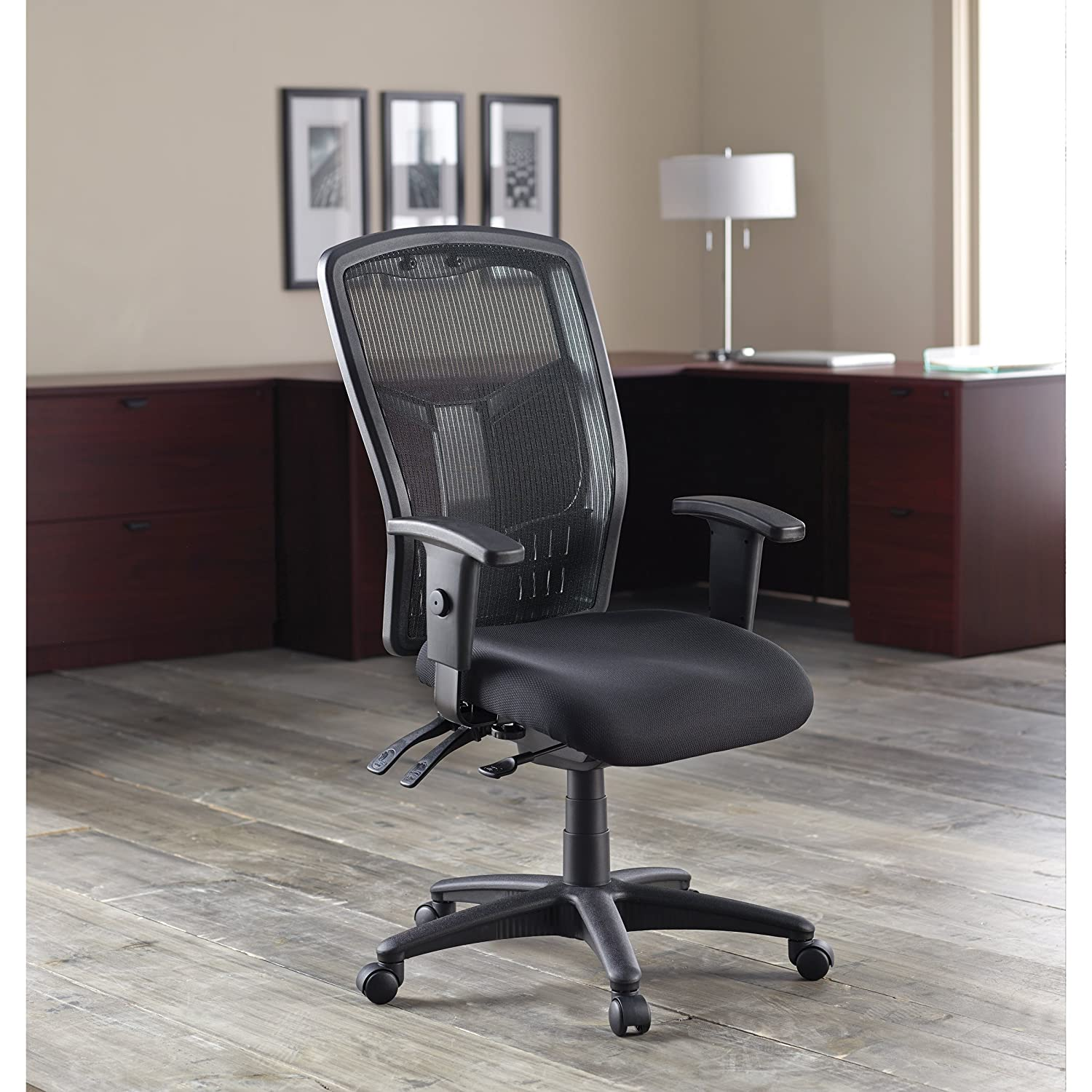 Lorell Executive High-Back Chair - Mesh Fabric - 28-1-2x28-1-2x45 - BK
